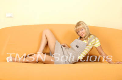 Blonde Teen Wearing Sister's Gray Overalls and Yellow Striped Shirt Sitting On Yellow Couch